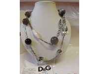 D&G COLLANA DJ0798 PAINT CON INSERTI IN RESINA COLOR GRIGIO ARGENTO D&G JEWELS