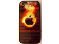 COVER PER IPHONE 5 5S CUSTODIA APPLE IN GOMMA GRAFICA MELA FUOCO